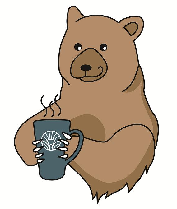 mann bear holding mug