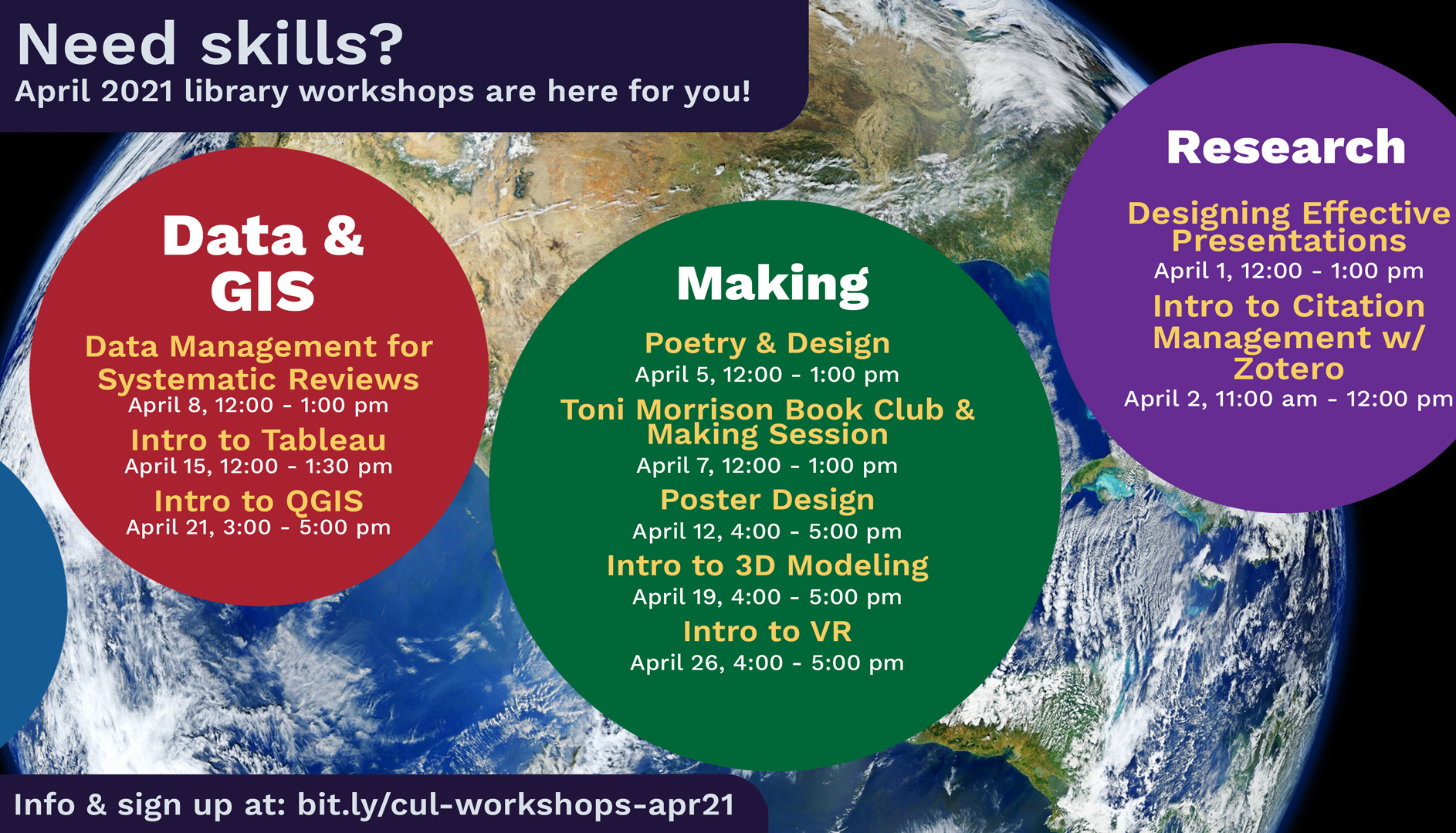 slide with information on upcoming workshops in April