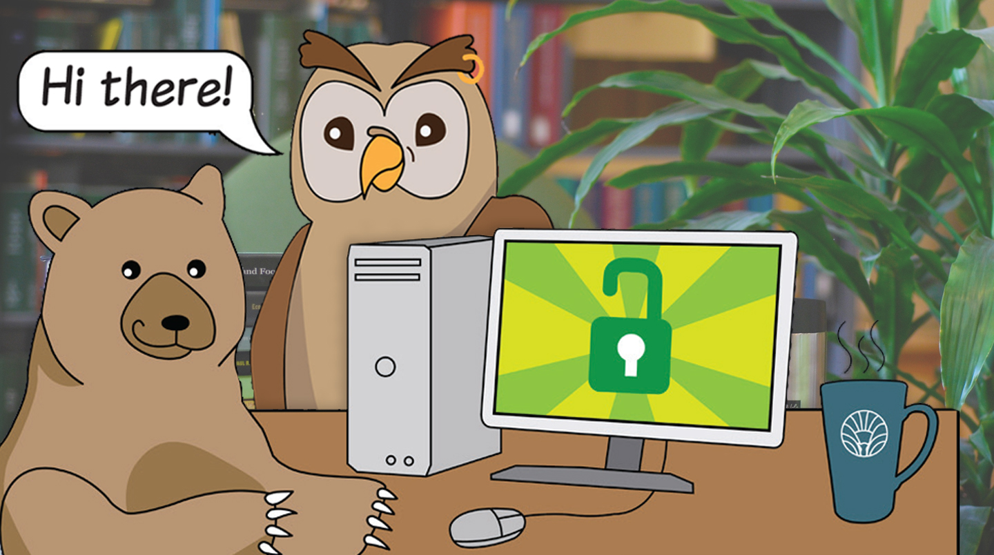 Librarian owl and patron bear use a library computer