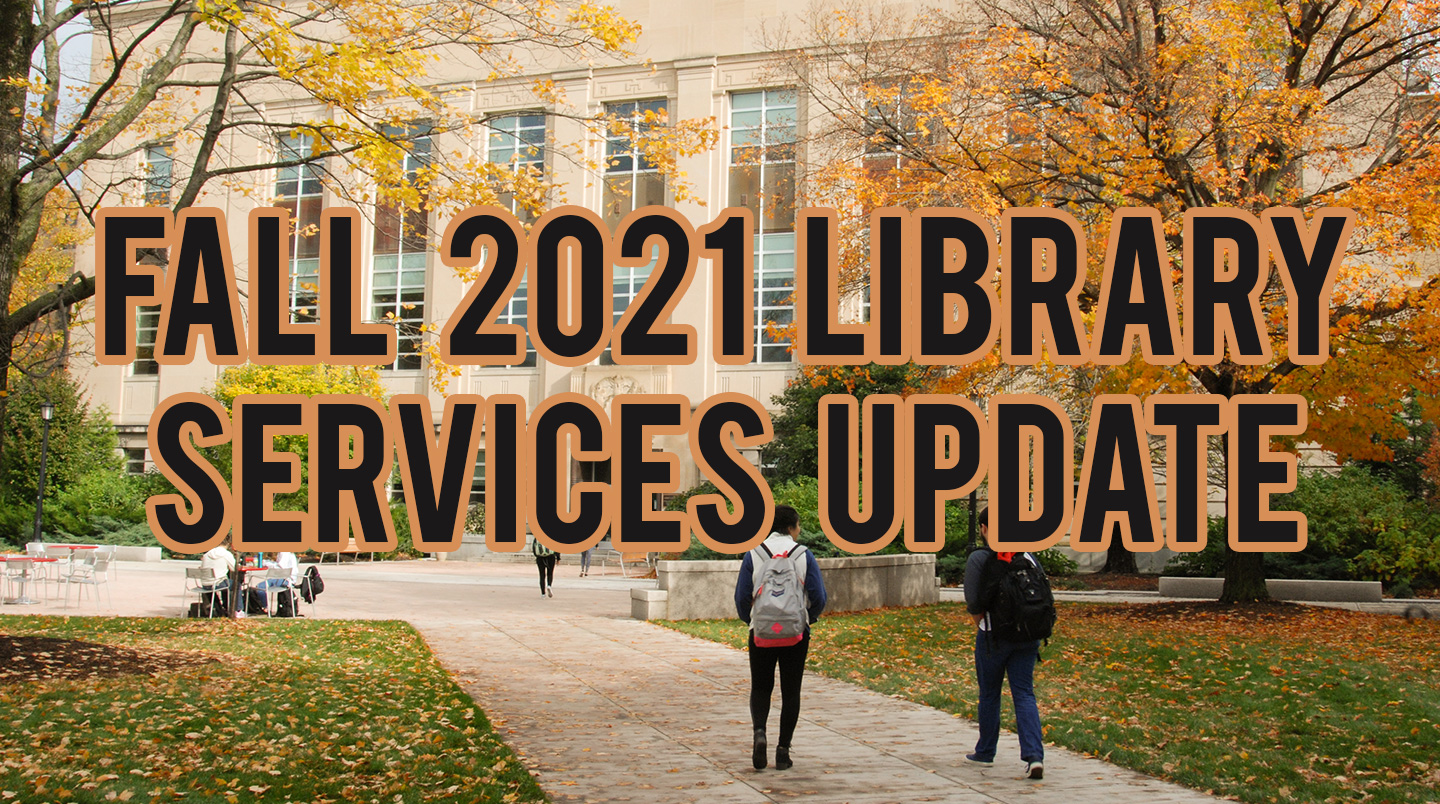 Image of exterior of Mann Library in fall with text