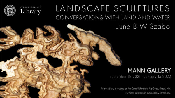 Promotional slide for Landscape Sculpture: Conversations with Land and Water exhibit by June B W Szabo in the Mann Gallery, September 18 2021 - January 15, 2022 featuring image of topographical wood carving